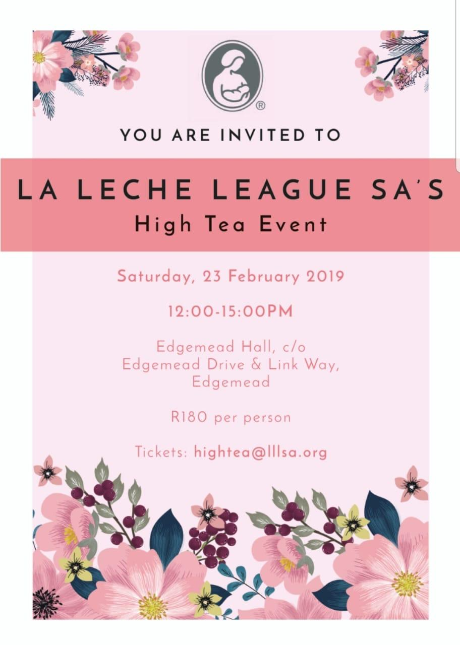 La Leche League Invitation to High Tea Cape Town